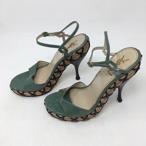 YSL green open toe criss cross wooden heels